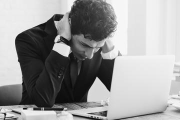 Stressed  Businessman Workplace Laptop Concept