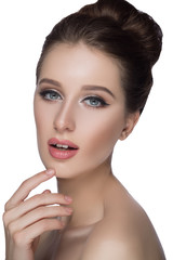 Perfect woman face portrait lips with fashion natural beige matte lipstick makeup. Beauty brunette sexy model girl  beautiful skin close her eyes and touching  .