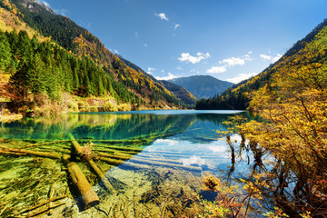 The Arrow Bamboo Lake with crystal clear water among mountains