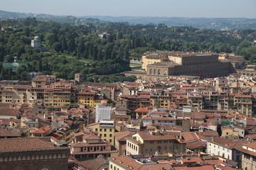 View to Palazzo Pitti and Giardino di Boboli in Florence, Tuscany Italy