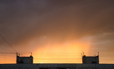 sky dawn sunset clouds sun night moon 12
