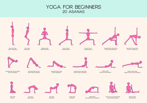 Yoga for beginners poses stick figure set