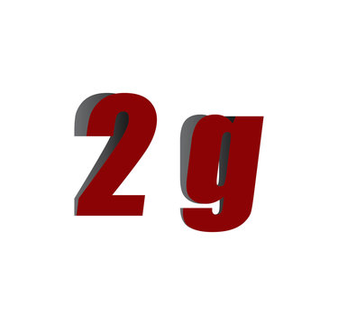 2g logo initial red and shadow