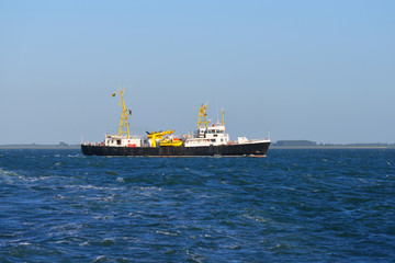 Cargo ship sailing in the sea in the Netherlands