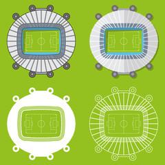 Set of football stadiums or soccer arena. Sport venue in flat design. Football stadium top view. Vector Illustration.