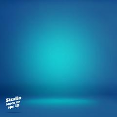 Vector,Empty vivid lighting blue studio room background ,Templat