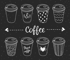 Coffee to go hand drawn designs. Paper coffee cups for take away hot drinks