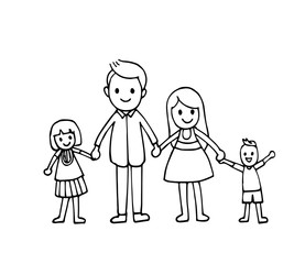 Vector of hand draw happy family holding hands and smiling together