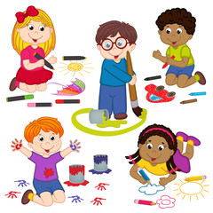 set of isolated children draw pictures - vector illustration, eps