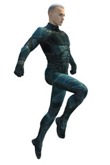 3d CG illustration of a Sci-Fi superhero male isolated on white