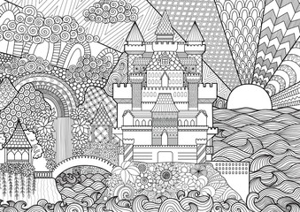 Zendoodle of castle landscape for background and adult coloring book pages