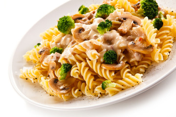 Fusilli pasta with champignons and sauce