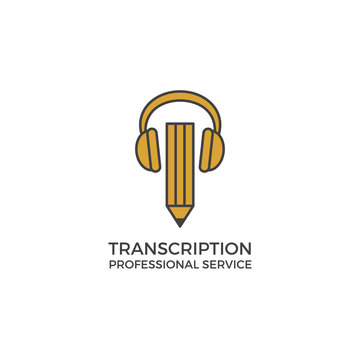 Transcription service logo. Vector illustration isolated on white. Bulky headphones and pencil. Modern clean simple flat design
