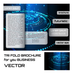 brochure folder leaflet. futuristic abstract element blue color background