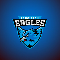 Eagle in a Shield. Abstract Vector Sport Emblem Template. League or Team Logo. University Crew Sign.