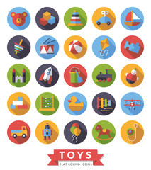 Toys flat design long shadow round icons vector set.