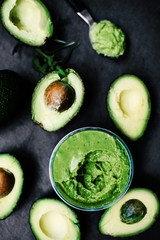Halved avocados. Top view. spread. pasta. Guacamole..