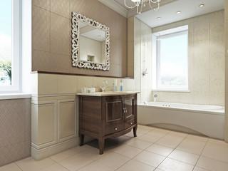 Ванная комната в частном доме 3d rendering