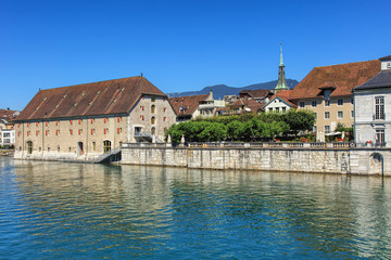 Buildings along the Aare river in Solothurn, Switzerland