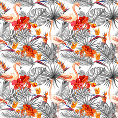 Flamingo, tropical leaves, exotic flowers. Seamlessmonochrome neutral background. Watercolor