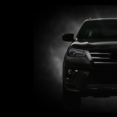 SUV Car on Black Background with Smoke Effect