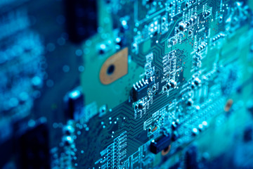 Close up of electric circuit board