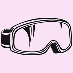 ski snowboard goggles vector silhouette isolated