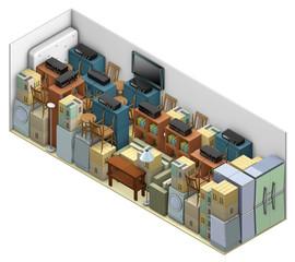 deposito oggetti e attrezzature, su fondo bianco