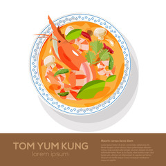Tom Yum Kung on top view - vector