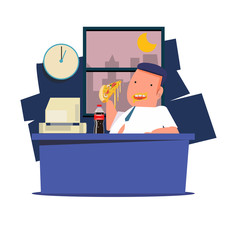 man eating junk food and soda at work. working late night - vect