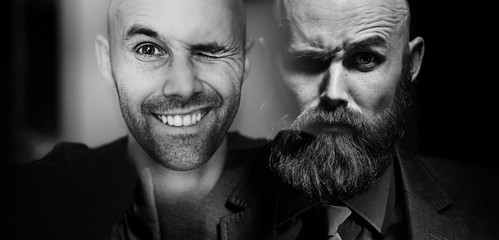 male portrait collage of a split personality