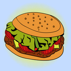 Burger Pop art vector illustration