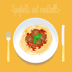 Spaghetti with meatballs, Italian pasta vector design element