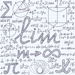 Algebraic vector seamless texture with many various mathematical signs, calculations, formulas. Math endless pattern, handwritten on a grid copybook paper