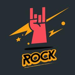 rock hand symbol with typographic - vector