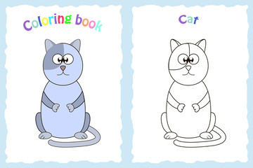 coloring page for preschool children with the cartoon cat