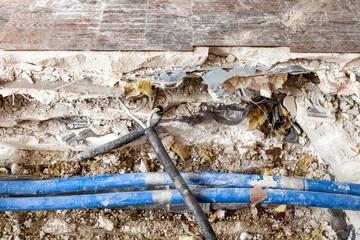 Baustelle defekt Leitung