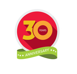 30th anniversary logo template with shadow number, 30 years icon. Thirty years birthday party symbol. Thirtieth anniversary, sticker, ribbon, banner poster, emblem, tag