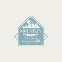 Mountain Skiing Emblem Design
