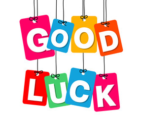 Vector colorful hanging cardboard. Tags - good luck
