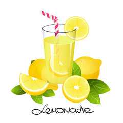 Fresh lemonade with lemon fruit slice. Realistic juicy citrus with leaves vector illustration isolated on white background.
