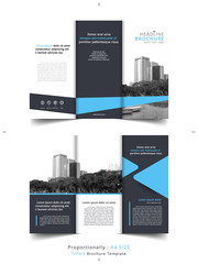 Set of Business tri fold brochure Template. Corporate Leaflet, Cover Design of building background, layout in A4 size.