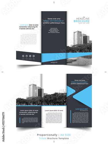 Set Of Business Tri Fold Brochure Template Corporate Leaflet Cover