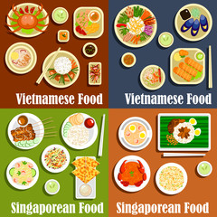 Vietnamese and singaporean cuisine dishes