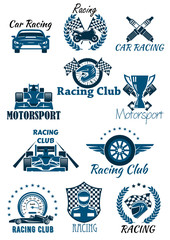 Isolated icons for racing and motorsports