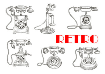 Sketch of retro telephones with rotary dials