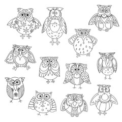 Funny owl silhouettes outline with cute feathering