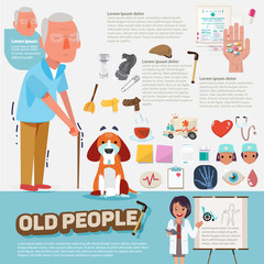 old people with graphic icons set. character design - vector