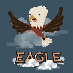 flying eagle in the sky. character design - vector