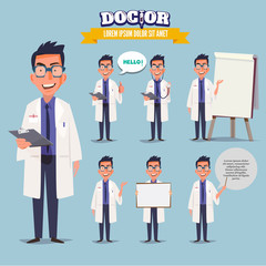 Smart doctor presenting in various action. character design. doc
